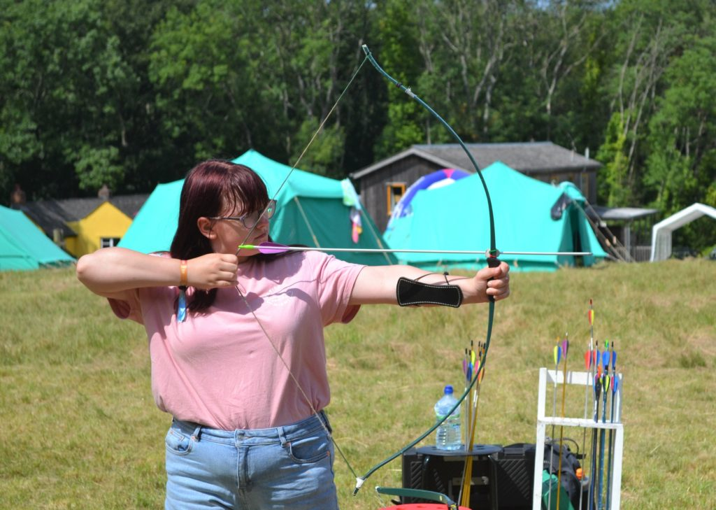 Young person doing archery