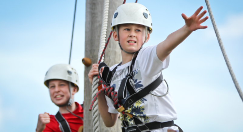 Young people high ropes